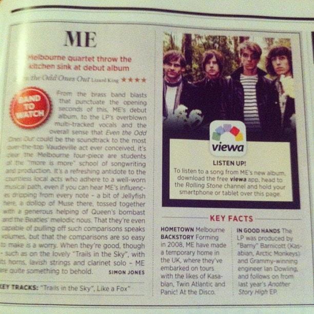 Article sur Me dans le magasine Rolling Stone.